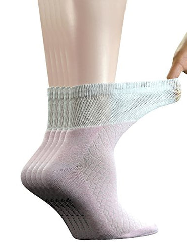 Yomandamor 5 Pairs Women's Bamboo Quarter Breathable Diabetic Socks with Seamless Toe and Cushion Sole