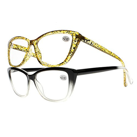 Women Cat Eye Yellow Spot Black Gradient Reading Glasses +1.00 ~ +4.00 Readers (All 2 Colors, 2.5)