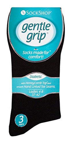 Gentle Grips Women's Gentle Grip - Diabetic Sock With Honey Linked Toe Seams 4-8 Uk Black