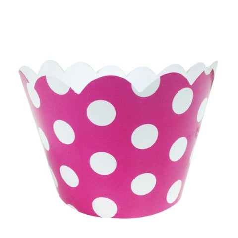 Wrapables Standard Size Polka Dots Cupcake Wrappers (Set of 20), Hot Pink