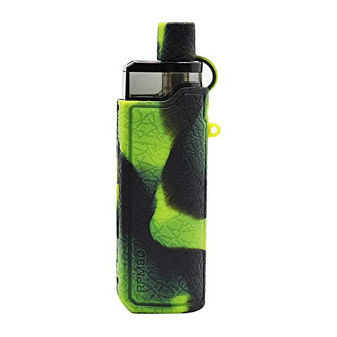 DEKPRO Silicone Protective Case for Smok RPM80 with Drip Tip Cap Rubber Skin Cover Sleeve Shield Wrap (Black Green)