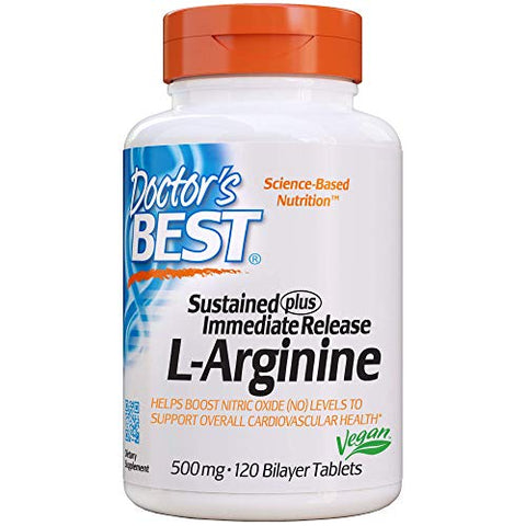 Doctor's Best Sustained Plus Immediate Release L-Arginine, Non-GMO, Vegan, Gluten Free, Soy Free, 500 mg, 120 Bilayer Tablets