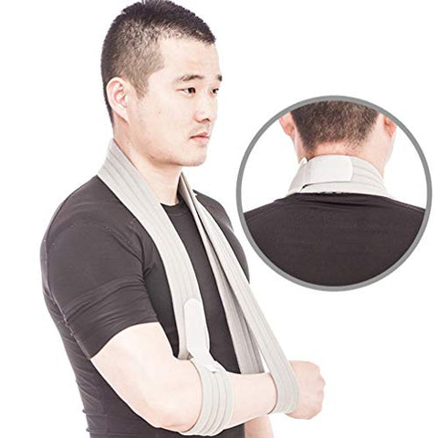 Exceart Arm Sling Shoulder Immobilizer Medical Support Strap for Broken Arm Immobilizer Wrist Elbow Support Size M (Grey)