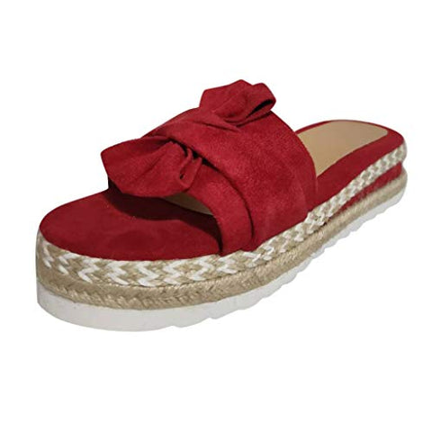 heavKin-shoes Women Summer Casual Slippers Solid Color Roman Style Woven Non-Slip Flat with Sandals (Red, 8.5)