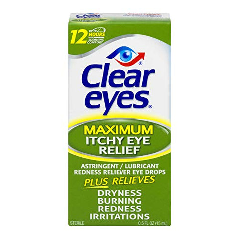 Clear Eyes Maximum Itchy Eye Relief - 0.5 oz, Pack of 6