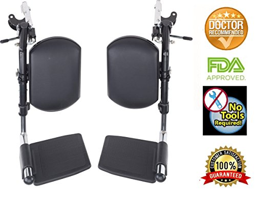 Wheelchair Elevating Legrests with Padded Calf Pads 1 Pair by Healthline Trading