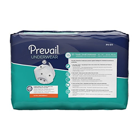 Prevail Extra Absorbency Incontinence Underwear Youth/Small Adult 22 Count Breathable Rapid Absorption Discreet Comfort Fit Adult Diapers