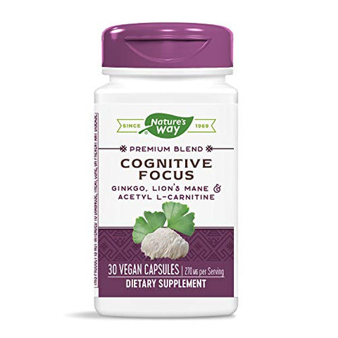 Nature's Way Cognitive Focus, with Gingko, Lion's Mane & Acetyl L-Carnitine, 270 mg per Serving, 30 Capsules