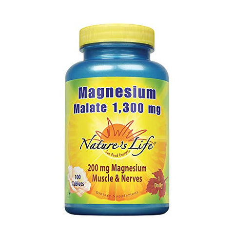 Nature's Life Magnesium Malate Tablets, 1300 Mg | 100 Count