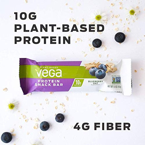 Vega Protein Snack Bar Blueberry Oat, Plant Based Vegan Protein Bars, Non Dairy, Gluten Free, Non GMO, 1.6 Ounce, Pack of 12