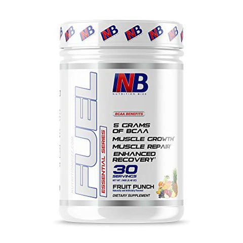 NutritionBizz BCAA Powder, 5 Grams of BCAAs Amino Acids, Post Workout Recovery Drink for Muscle Building, Recovery, and Endurance, 30 Servings (Fruit Punch)