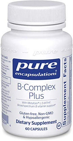 Pure Encapsulations B-Complex Plus | B Vitamins Supplement to Support Red Blood Cell Growth, Neurological and Psychological Health, Cardiovascular Health, Energy Levels, and Eye Sight* | 60 Capsules