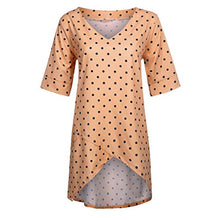KYLEON Women's Summer Tops Short Sleeve T Shirts V Neck Tunic Roll Up Tops Asymmetrical Tees Loose Polka Dot Shirts