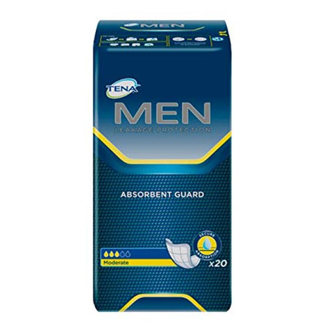 TENA Men Moderate Absorbency Bladder Control Pad 50600 One Size Fits Most Pack of 20, White