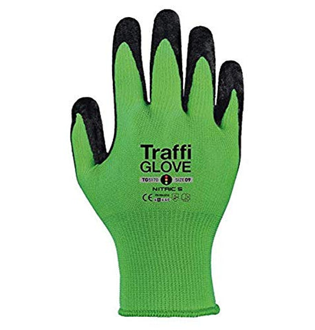 TraffiGlove TG5170-8 Nitric 5 Wet/Dry Condition Gloves, Cut Level 5, Size 8, Green
