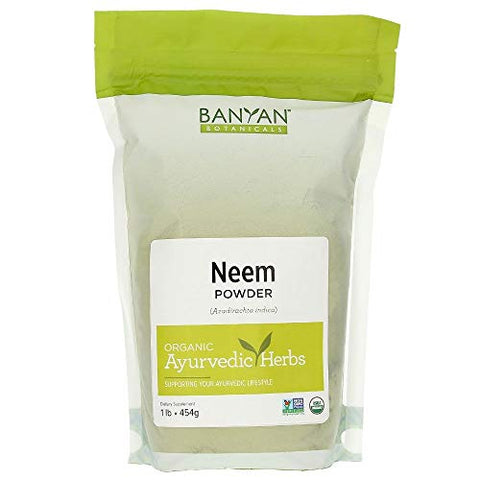Banyan Botanicals Neem Powder  Organic Neem Leaf Powder  Azadirachta Indica  for Clear Complexion & Healthy Skin, Hair, Blood, Lymph, Liver & More*  1lb.  Non-GMO Sustainably Sourced Vegan