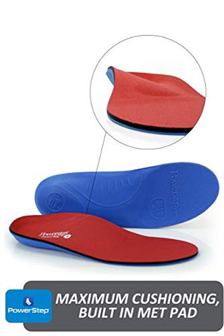 Powerstep Pinnacle Plus Orthotic Inserts, Red/Blue, Men's 9 9.5 / Women's 11 11.5