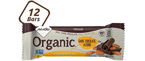 NuGo Organic Dark Chocolate Almond, 10g Vegan Protein, Gluten Free, 190 Calories, 12 Count