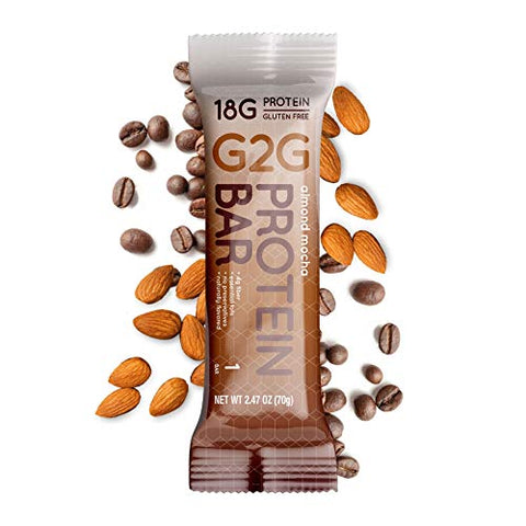 G2G Protein Bar, Almond Mocha, Healthy Snack, Delicious Meal Replacement, Clean Ingredients, Gluten Free, Refrigerated for Freshness, 8 Count (Pack of 8)