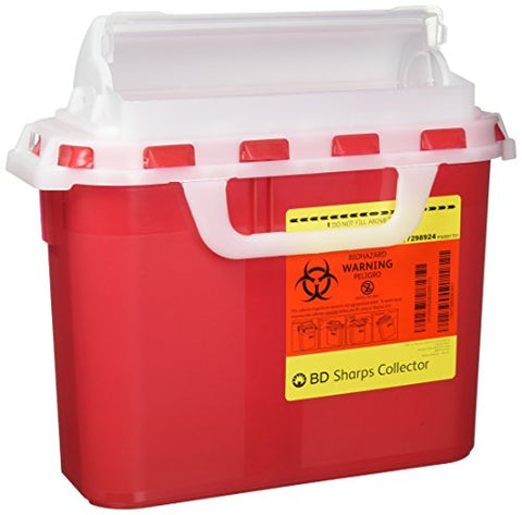 BD 5.4 Quart Red Horizontal Entry Sharps Container