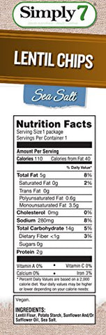 Simply 7 Lentil Chips, Sea Salt, 0.8 Ounce (Pack Of 24)