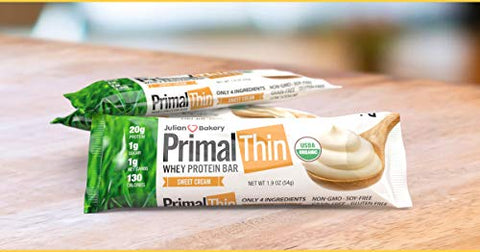 Julian Bakery Primal Thin Protein Bar | Sweet Cream | Organic Grass-Fed Whey | Gluten-Free | 20g Protein | 1 Net Carb | 10 Bars
