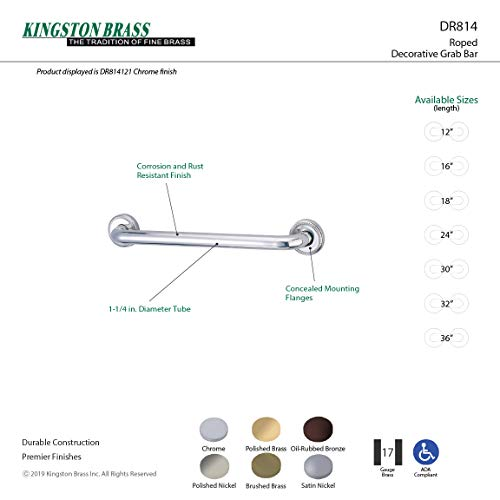 Kingston Brass DR814161 Designer Trimscape Laurel Decor 16-Inch Grab Bar with 1.25-Inch Outer Diameter, Polished Chrome