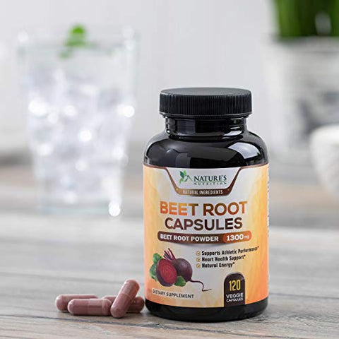 Beet Root Capsules, 1300mg Per Serving, Organic Beetroot Powder Extract, Made in USA, Vegan, NonGMO, Herbal Nitrate Supplement, Nitric Oxide Supports Natural Performance and Energy - 120 Capsules