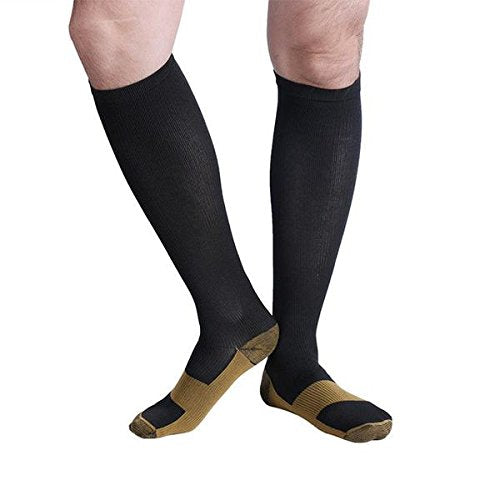 Bcurb Graduated Compression Socks Women and Men - Best Medical, Nursing, Running, Fitness, Sports, Travel & Flight Sock - Over The Calf Below Knee High (Black/Copper - 5 Pair, XXL)