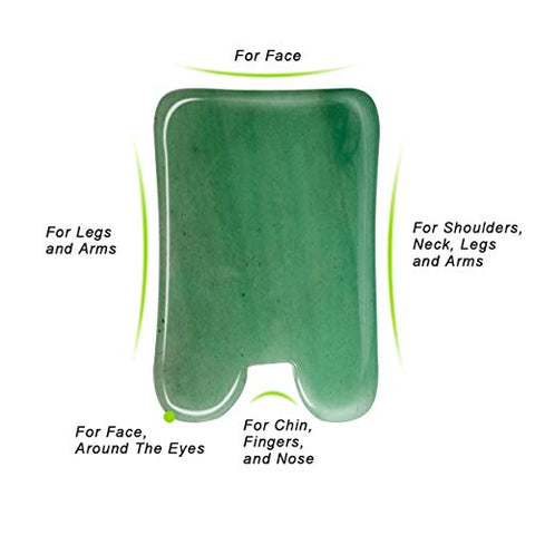 3 Pack Jade Gua Sha Scraping Massage Tool, Ahier Natural Jade Gua Sha Board For Face And Body, Facia
