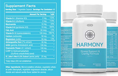 Harmony Stress Support & Clarity Formula for Better Mood, Reduced Anxiety & Worry. Boosts Immunity with 5-HTP, Ashwagandha, GABA, Chamomile, Folic Acid. 60ct Veggie Capsules