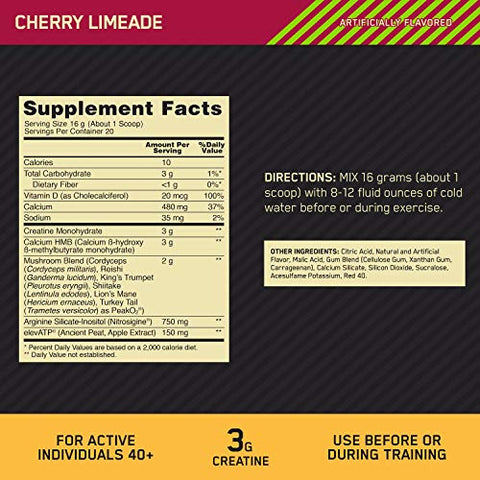 Optimum Nutrition Gold Standard FIT 40 PreWorkout Booster, Cherry Limeade, 11.3 Oz