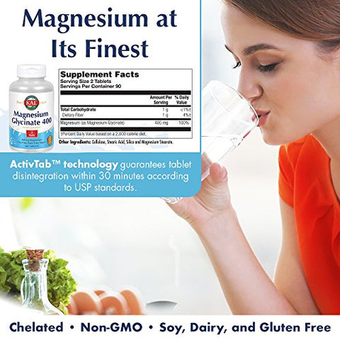 KAL Magnesium Glycinate 400 | Vegan, Chelated, Non-GMO, Soy, Dairy, and Gluten Free | 90 Servings | 2 pk