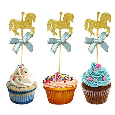KWJOY 40 Pieces Carousel Horse Theme Gold Glitter Cupcake Toppers Horse Cake Decoration