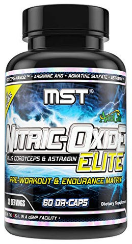 Nitric Oxide Elite Supplement by MST, Vascularity, Pump, Blood Flow, Endurance, Pre Workout Supplement with Cordyceps, 60 DR-Caps
