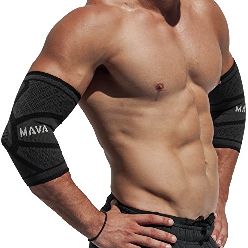 Mava Sports Elbow Compression Sleeve Support For Weightlifting, Pain Recovery, Tendonitis, Gym Worko
