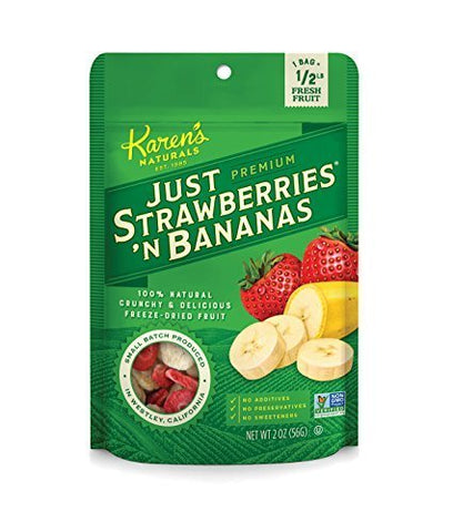 Karen's Naturals Just Strawberries 'N Bananas, 2 Ounce Pouch, All Natural Freeze Dried Fruit, Vegan, Gluten Free, Healthy Fruit Snacks with No Additives, No Preservatives, No Added Sugar