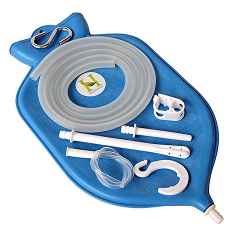 HealthGoodsIn - The Perfect Enema Bag Kit in Blue Color for Colon Cleansing with Silicone Hose (2 Quart, Open Top)