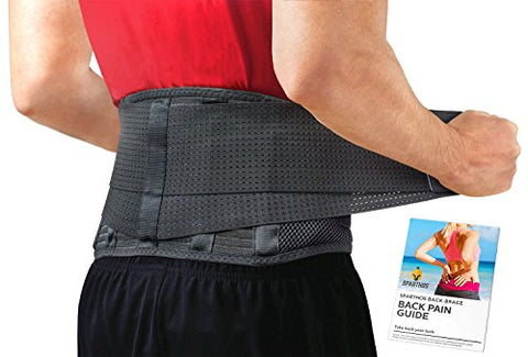 Lumbar Support Belt by Sparthos - Relief for Back Pain, Herniated Disc, Sciatica, Scoliosis and More - Breathable Mesh Design with Lumbar Pad - Adjustable Support Straps - Lower Back Brace - Size LGE