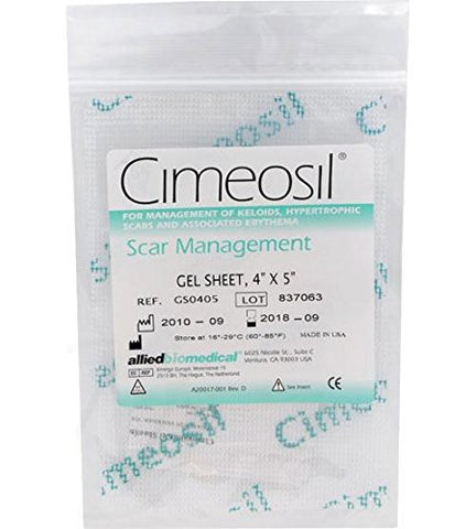 Cimeosil Gel Sheet, 4 x 5 inch - Scar Treatment For Keloid and Hypertrophic Scars