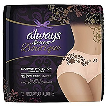 Always Discreet Boutique Incontinence, Maximum Protection, Small/Medium, 12 Underwear (Pack of 2)