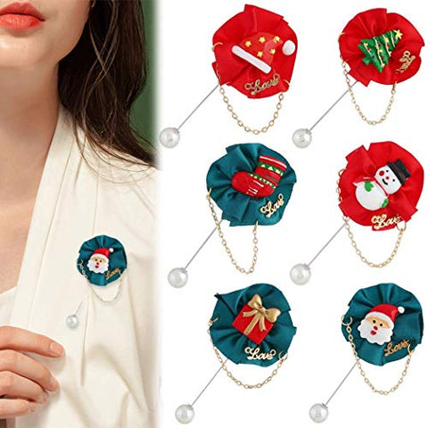 LIMINGZE 6 PCS Christmas Brooch Fashion Decorative Different Pin Corsage Brooch