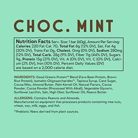 good! Snacks Vegan Chocolate Mint Protein Bar | Gluten-Free, Plant Based, Low Sugar, Kosher, Soy Free, Non GMO | 15g Protein (12 Bars)