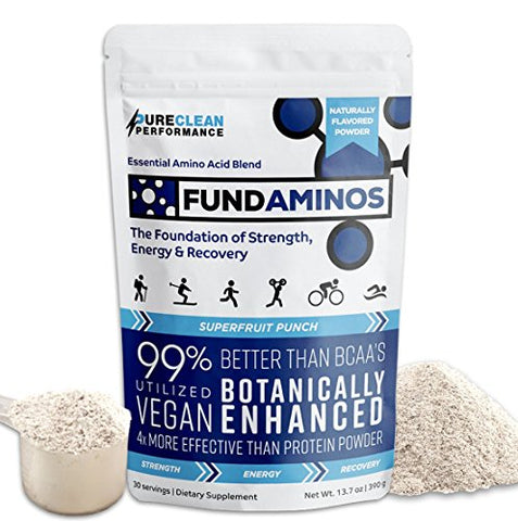 FUNDAMINOS-Vegan EAA/BCAAs, Botanically Boosted, Best-Tasting, Great Value, Nothing Artificial, Physician-Formulated, Clinically-Proven Since 2008 (60-Servings) - PureClean Performance