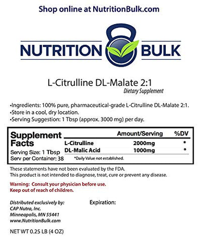L-Citrulline DL-Malate 2:1 - Nutrition Bulk, Powder, Resealable Bag, Pure, No Fillers, Gluten Free, Non-GMO (4oz)
