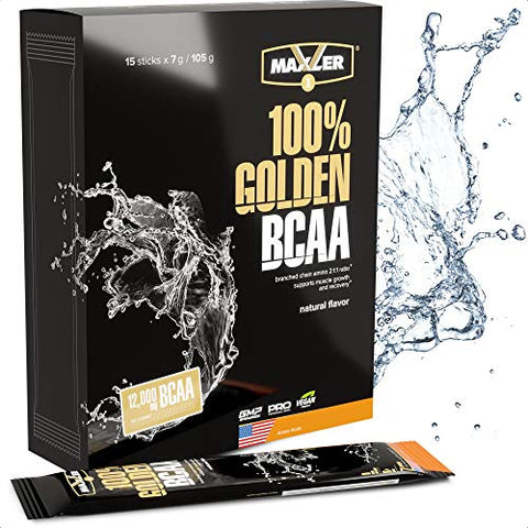 Maxler 100% Golden BCAA Powder - Intra & Post Workout Recovery Drink for Accelerated Muscle Recovery & Lean Muscle Growth - 6 g Vegan BCAAs Amino Acids - 15 Servings - Natural