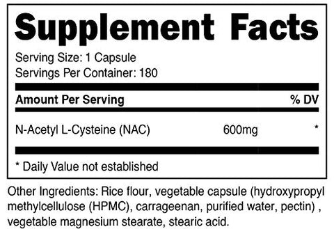 Nutricost N-Acetyl L-Cysteine (NAC) 600mg, 180 Capsules - Veggie Caps, Non-GMO, Gluten Free