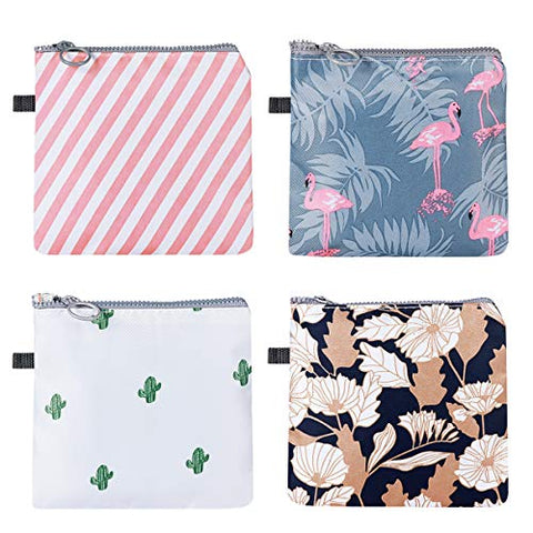 EXCEART 4Pcs Sanitary Napkin Pouch Zipper Tampons Collect Bags Waterproof for Women Girls (Cactus, Flamingo, Flower, Stripe, 1 Pcs Each)