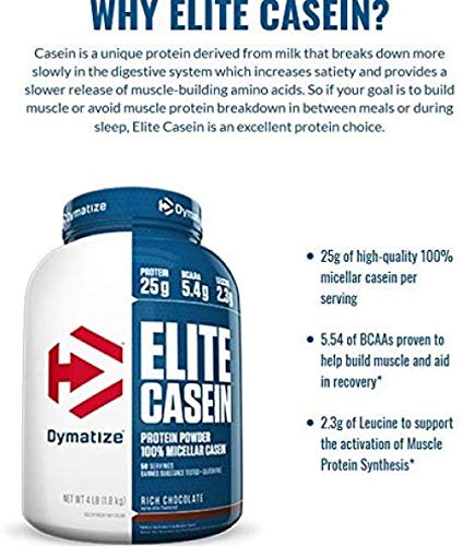 Dymatize Elite Casein Protein Powder, Slow Absorbing With Muscle Building Amino Acids, 100% Micellar