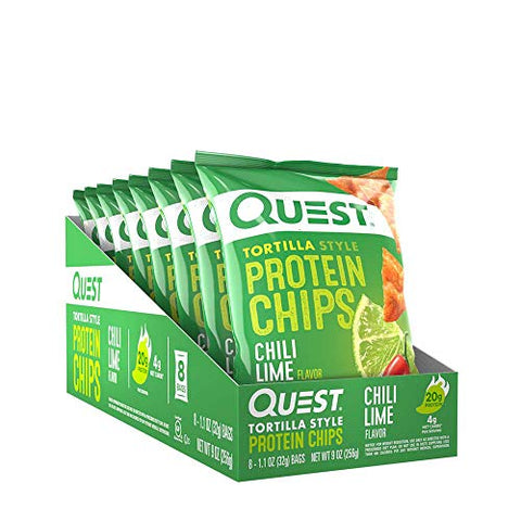 Quest Nutrition Tortilla Style Protein Chips, Chili Lime, Low Carb, Gluten Free, Baked, 1.1 Ounce (Pack of 8)